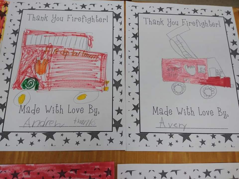 Mrs. Byrnes' 2nd Grade Class Makes Special Response to Local Firefighters
